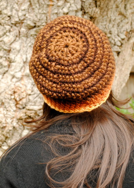 Crocheted hat, naturally dyed with mushroom Pisolithus tinctorius