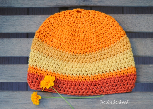 All four skeins of coreopsis dyed yarn, one hat. Wow.