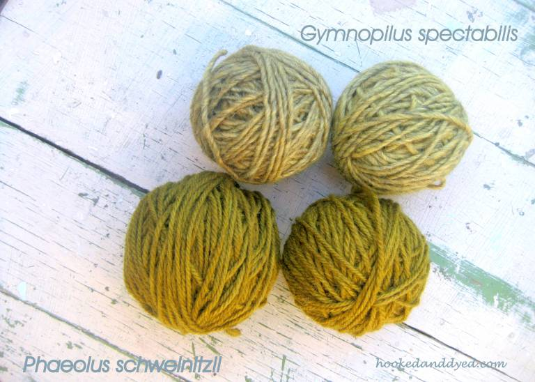 Two shades of green, from two different mushrooms dyes.