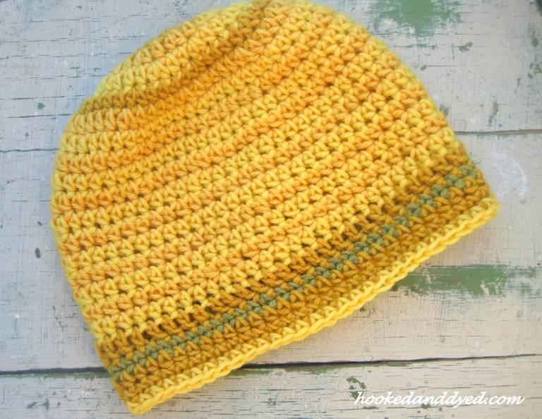 Hat crocheted using yarn dyed with Gymnopilus spectabilis and Phaelous schweinitzii