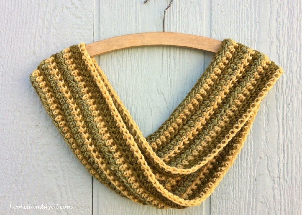Crocheted infinity scarf, made with mushroom dyed yarn