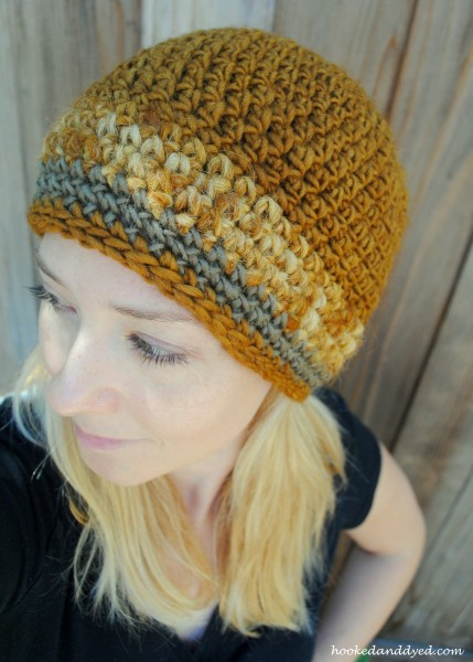 Crocheted hat, dyed with Pisolithus arhizus