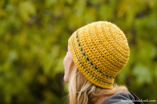 Mushroom dyed hat yellow, green