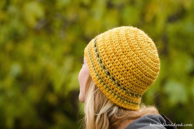 Mushroom dyed hat yellow, green